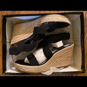 NEW Rampage Flynn Black Espadrille Sandals 9.5